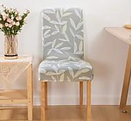 abordables -1 pièce feuille imprimée extensible amovible lavable courte chaise de salle à manger couvre, salle à manger chaise protecteur siège housse pour hôtel, banquet, mariage, fête