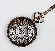 economico -classico orologio da tasca meccanico a carica manuale in bronzo antico per uomo e donna, (8038)