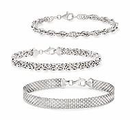abordables -ensemble de bijoux en argent sterling: 3 bracelets à maillons pour femme