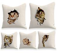 abordables -housse de coussin 5pcs lin doux décoratif carré housse de coussin taie de coussin taie d'oreiller pour canapé chambre 45 x 45 cm (18 x 18 pouces) chat lavable de qualité supérieure mashine