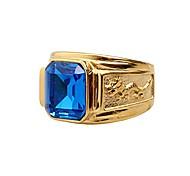 economico -anelli da uomo in acciaio al titanio dorato con gemma palazzo retrol blu taglia 8
