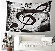abordables -tapisserie murale art déco couverture rideau pique-nique nappe suspendue maison chambre salon dortoir décoration fibre de polyester nature morte notes de musique en noir et blanc
