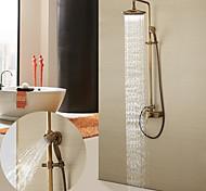 economico -set sistema doccia in ottone antico, monocomando tre fori sistema doccia a parete a pioggia con valvola in ceramica miscelatori per vasca da bagno con interruttore per acqua calda e fredda