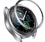 abordables -anneau de lunette compatible samsung galaxy watch 3 45mm 41mm, anneau de lunette classique couverture adhésive anti-rayures accessoires de protection en acier inoxydable (argent, montre galaxy3-45mm)