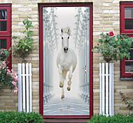 abordables -cheval blanc auto-adhésif créatif porte autocollants salon bricolage décoratif maison autocollants muraux imperméables