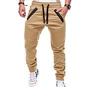 abordables -Homme Actif basique Chino Pantalon Couleur Pleine Toute la longueur Cordon Noir Vert Véronèse Kaki Gris