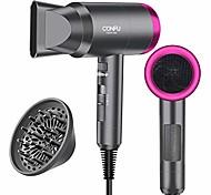 abordables -sèche-cheveux pour les voyages&maison, sèche-cheveux ionique négatif léger 1600w, 3 réglages de chaleur, réglages de refroidissement, buses de diffuseur et de concentrateur (gris)
