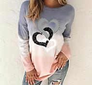 abordables -Tunique Femme Quotidien Sans Doublure Dégradé de Couleur Cœur Teinture par Nouage Manches Longues Imprimé Col Rond Hauts Ample Haut de base Bleu Violet Kaki