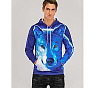abordables -Homme Sweat-shirt à capuche Graphique Animal Poche avant Quotidien Soirée Simple Pulls Capuche Pulls molletonnés Bleu