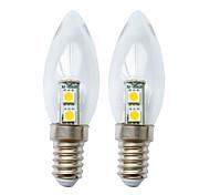 abordables -2pcs 1 W bougies LED 60 lm E14 7 perles LED SMD 5050 blanc chaud blanc 180-240 V