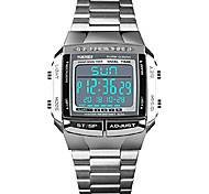 economico -orologi da uomo orologi sportivi militari impermeabile led dual-time countdown allarme luminoso orologio digitale (argento)