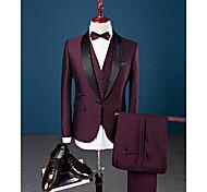 abordables -Rouge Bordeaux Couleur Pleine Coupe Slim Spandex / Coton / Polyester Costume - Col Châle Droit 1 bouton / costumes