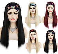 abordables -22 pouces perruque coiffure style bandeau sortie quotidienne perruque couvre-chef dames bandeau bandeau cheveux longs perruques de cheveux raides couvre-chef synthétique noir or vin rouge multicolore