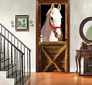 abordables -motif de cheval blanc auto-adhésif créatif autocollants de porte salon bricolage décoratif maison autocollants muraux imperméables