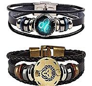 abordables -bracelet pour hommes, rétro 12 constellation perlée tissée à la main corde tressée punk alliage cuir bracelets manchette