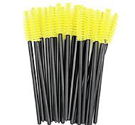 abordables -Brosses à mascara jetables pour cils baguettes applicateur kits de pinceaux de maquillage Spoolers applicateurs extensions de cils outils de maquillage, 100pcs (jaune)