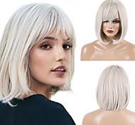 abordables -Perruque Synthétique Droite naturelle Kardashian Bob Coupe Carré Perruque Moyen Blanche Cheveux Synthétiques 12 pouce Femme Design Tendance Nouvelle arrivee Ligne de Cheveux Naturelle Blanc MAYSU