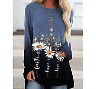 abordables -Robe t-shirt Tunique Femme Quotidien Bloc de Couleur Fleurie Marguerite Manches Longues Imprimé Col Rond Hauts Ample Haut de base Bleu Violet Vert