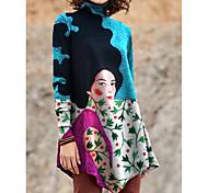 economico -Per donna Abito a T shirt Mini abito corto Nero Blu Viola Giallo Azzurro Manica lunga Con stampe Monocolore Collage Con stampe Autunno Inverno A collo alto Casuale 2021 S M L XL XXL 3XL