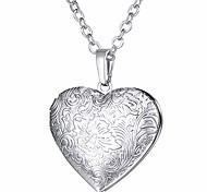 abordables -Collier médaillon coeur grain de fleur qui contient une image / urne cendres bijoux commémoratifs plaqués platine pour femmes / filles / animal de compagnie