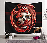 abordables -Tapisserie murale art décor couverture rideau suspendu maison chambre salon décoration polyester fibre crâne crâne volant dragon lanting conception