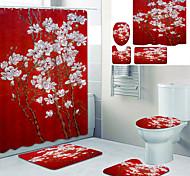 abordables -Doublure de rideau de baignoire imprimée magnolia recouverte de rideau de douche en tissu imperméable pour la décoration de la maison de salle de bain avec tapis de sol à crochet et tapis de toilette