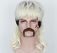 abordables -Perruque Synthétique joe exotic Bouclé Avec Frange Perruque Court Blond Cheveux Synthétiques 18 pouce Homme Frais Duveteux Blond