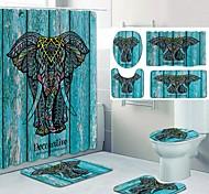 abordables -motif éléphant de bon augure impression salle de bain rideau de douche toilettes de loisirs conception en quatre pièces