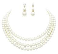 abordables -ensemble de bijoux collier et boucles d'oreilles en fausse perle crème