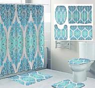 abordables -impression de motif de mandala salle de bain rideau de douche toilettes de loisirs conception en quatre pièces