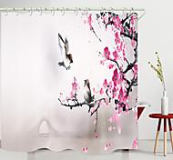 abordables -Petit oiseau fleur de prunier arc pont impression numérique rideau de douche rideaux de douche crochets polyester moderne nouveau design