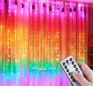 abordables -lumières de rideau led changeant de couleur lumières de chaîne de rideau arc-en-ciel 3 m * 3 m 300 leds 1 télécommande à 13 touches 1 ensemble blanc chaud blanc multi couleur étanche usb décoratif 5 v