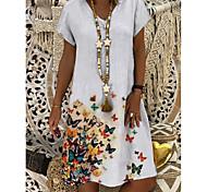 abordables -Femme Robe Droite Robe Longueur Genou Arc-en-ciel Bleu clair Manches Courtes Imprimé Papillon Fleur Imprimé Eté Col en V Simple 2021 S M L XL XXL 3XL