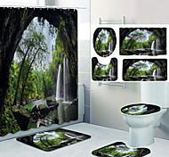 economico -grotta cascata modello stampa bagno doccia tenda per il tempo libero WC design in quattro pezzi