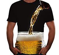 economico -Per uomo Magliette maglietta Stampa 3D Pop art 3D Birra Taglie forti Manica corta Per uscire Top Essenziale Comodo Grande e alto Nero Rosso Rosa