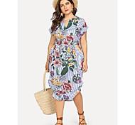 abordables -Femme Grandes Tailles Rayé Fleurie Lacet Imprimé Simple Manches Courtes Printemps & Automne Robe mi-longue Robe Trapèze