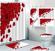economico -petalo di rosa modello stampa bagno doccia tenda per il tempo libero WC design in quattro pezzi
