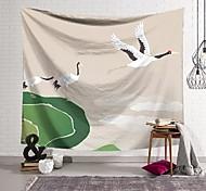 abordables -Tapisserie murale art décor couverture rideau suspendu maison chambre salon décoration trois grues à couronne rouge polyester