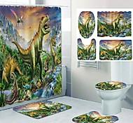abordables -dinosaure empire motif impression salle de bain rideau de douche loisirs toilettes conception quatre pièces