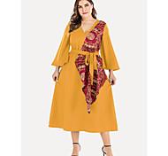 abordables -Femme Grandes Tailles Couleur unie Lacet Rétro Vintage Manches Longues Printemps été Robe mi-longue Robe Trapèze