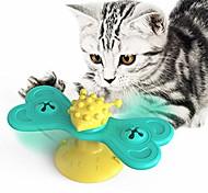 abordables -Moulin à vent chat jouet puzzle plateau tournant avec brosse chat jouer jeu jouet moulin à vent chaton interactif chatouiller jouet fournitures pour animaux de compagnie-c