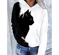 abordables -Femme Sweat-shirt à capuche Chat Graphique 3D Poche avant Imprimé Quotidien Impression 3D basique Simple Pulls Capuche Pulls molletonnés Blanche