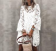 economico -Per donna Tubino Mini abito corto Bianco Manica lunga Tinta unica Pizzo Cavo alla vita Primavera Estate Rotonda Elegante MUMU abiti da vacanza Manica del polsino svasato 2021 S M L XL