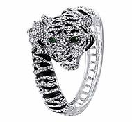 abordables -bracelet en cristal autrichien en émail magnifique tigre animal clair argenté