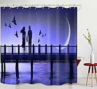 abordables -Saint Valentin pont couple croissant de lune impression numérique rideau de douche rideaux de douche crochets moderne polyester nouveau design