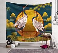 abordables -Tapisserie murale art décor couverture rideau suspendu maison chambre salon décoration vent national grue à couronne rouge polyester
