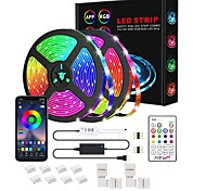 economico -1x5M 2x5m 3x5m Set luci Strisce luminose RGB Luci intelligenti 150 300 450 600 LED SMD5050 10mm 1 adattatore 12V 6A 1Impostare la staffa di montaggio 1 adattatore di alimentazione da 10A 1 set Colori