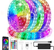 abordables -lumières de bande led étanche bluetooth intelligent 5050 20m 10mm rgb kits de bandes lumineuses à LED avec 24 touches calendrier de minuterie de contrôle d'application à distance lumières de bande de