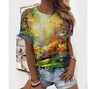 abordables -T shirt Femme Quotidien Sans Doublure Paysage Imprimés Photos Manches Courtes Imprimé Col Rond Hauts Standard Haut de base basique Vert