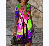abordables -Femme Robe Trapèze Robe Longueur Genou Violet Rose Claire Vert Manches 3/4 Imprimé Imprimé Automne Printemps Col en V Simple 2021 S M L XL XXL 3XL